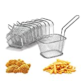 Yosoo 8Pcs Chip Serving Basket French Fries Crisps Wedges Onion Rings Frying Food Presentation Stainless Steel Filter Party Fryer Mini Strainer Kitchen Restaurant Cooking Tool