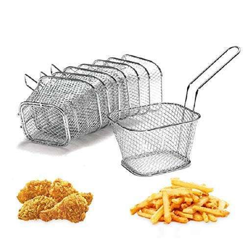 8Pcs Chip Serving Basket French Fries Crisps Wedges Onion Rings Frying Food Presentation Stainless Steel Filter Party Fryer Mini Strainer Kitchen Restaurant Cooking Tool Yosoo