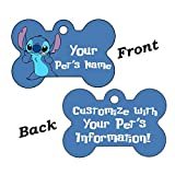 uDesignUSA Disney Double Sided Pet Id Tags for Dogs & Cats Personalized for Your Pet (Stitch, Bone Shaped)
