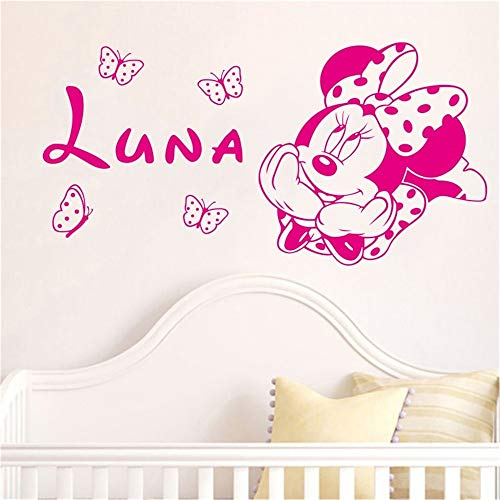 (Jisao Motivational Wall Sticker Quotes Creative Kawaii for Kids Rooms Minnie Mickey Mouse Butterfly Custom Baby Names,)
