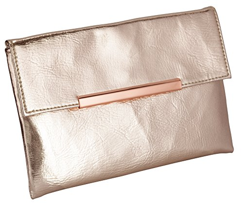 Slim Rose Gold Metallic Clutch Bag For Cosmetics, Makeup, Cellphone, Wallet, and Organization - Made of Premium Vegan Leather