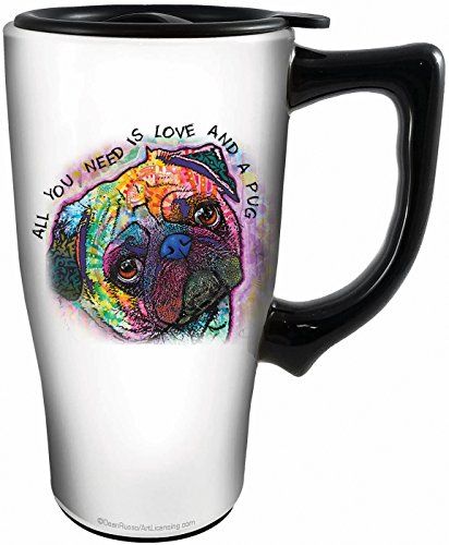 Spoontiques 12811 Dean Russo Pug Ceramic Travel Mug, White/Multicolor