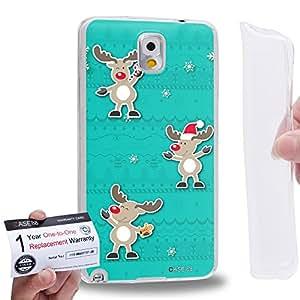 Case88 [Samsung Galaxy Note 3] Gel TPU Carcasa/Funda & Tarjeta de garantía - Art Navidad Classics Three Cute Deers Art1356