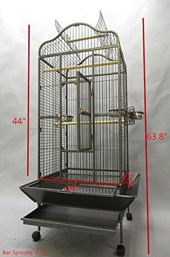 Homey Pet L24 xW22 xH61 Large Parrot Cage, Open Playtop, Black Hammer Spray