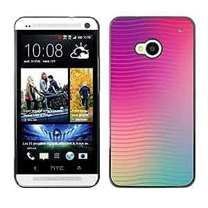Líneas Waves Purple Teal Peach borrosa - Metal de aluminio y de plástico duro Caja del teléfono - Negro - HTC One M7
