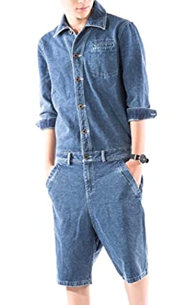 c3c14000611 AngelSpace Men s Washed Classic Fit Rugged Wear Pure Color Jean Romper Blue  S