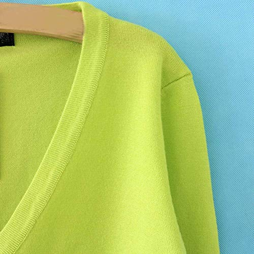 Eleganti A Neck Lunghe Fashion Single Ragazza Giacca Maglia Casual Puro Colore Cappotto Maniche Green Autunno Maglia Breasted A Primaverile Maglioni Pullover 1 V Donna Targogo w4Ax5IIq