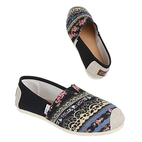 Ital-Design Damen Schuhe Halbschuhe Slipper Schwarz 2