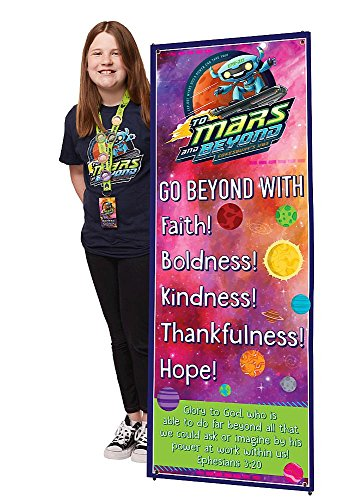 Vacation Bible School (VBS) 2019 To Mars and Beyond Theme Banner: Explore Where God's Power Can Take -