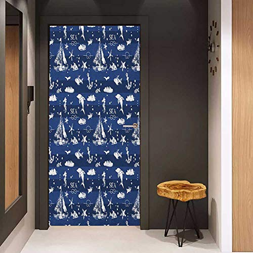 Onefzc Front Door Sticker Navy Blue Sailboat Vertical Stripe Pattern Anchor Fishes Gulls Paint Effect Nautical Theme for Home Decor W38.5 x H77 Blue White ()