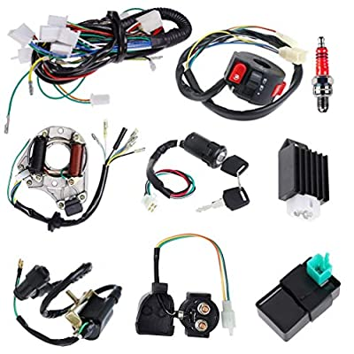 Complete Electrics Stator Coil CDI Wiring Harness Solenoid Relay Spark Plug for 4 Stroke ATV 50cc 70cc 110cc 125cc Pit Quad Dirt Bike Go Kart by TOPEMAI: Automotive