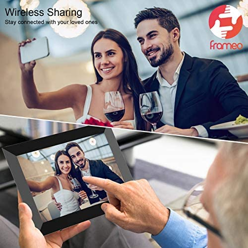 FRAMEO Digital Picture Frame WiFi 10 inch with IPS HD Touch Screen Auto-Rotate 16GB Storage Smart Cloud Photo Frame Easy Setup to Share Photos or Videos by means of Free App at Anytime and Anywhere