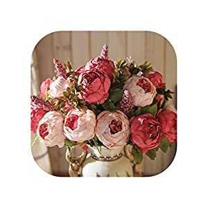 Sweet*love 13 Branch/Bouquet Artificial Flowers Peony Vivid Artificiales Fake Silk Rose Bridal Wedding Decor Wreath Gland Home 7