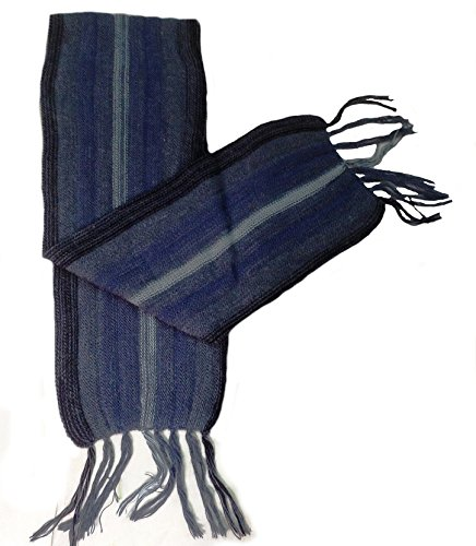 Alpakaandmore Thick Unisex 100% Alpaca Wool Scarf, Shawl Stripes 63x4.72 (Blue/ Black) ()