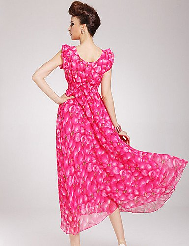 PU&PU Robe Aux femmes Swing Vintage / Plage , Imprimé Surplis Maxi Mousseline de soie , fuchsia-m , fuchsia-m