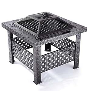 Qisan - Foso cuadrado de fuego de 66 cm para exteriores, camping, jardín, patio, jardín, cocina, incluye la rejilla