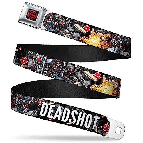 Buckle-Down Seatbelt Belt - DEADSHOT Face/Pose/Targets/Bullets - 1.5