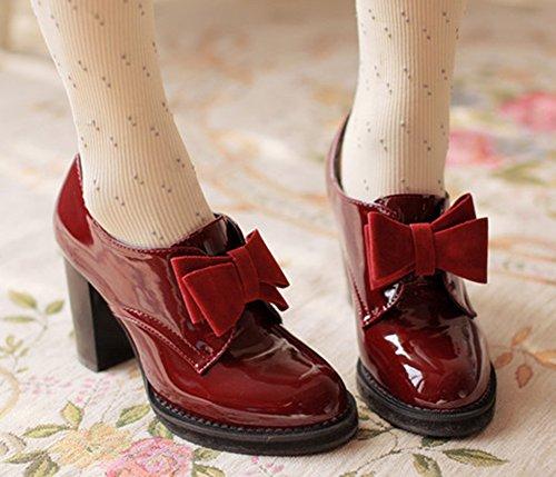Tacones Altos Del Todoterreno De Las Mujeres De La Vendimia De Aisun Tacones Altos Del Bloque Del Resbalón En Las Bombas Zapatos Con Los Arcos Wine Red