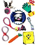Rope Dog Toys Set Selection | Grooming Glove GIFT | Comes in Large Cool Bag for Toys | Collectible Frisbee | Washable Cotton Chew Teething | Dental Pack Puppy to Medium Breed | Outdoor - Indoor Games