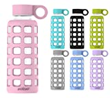 purifyou Premium Glass Water Bottle with Silicone Sleeve & Stainless Steel Lid Insert, 12/22/32 oz (Misty Rose, 12 oz)
