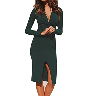 ESAILQ Womens Deep V Neck Long Sleeve Solid Holiday Dress Ladies Party Dress Dresses for Women