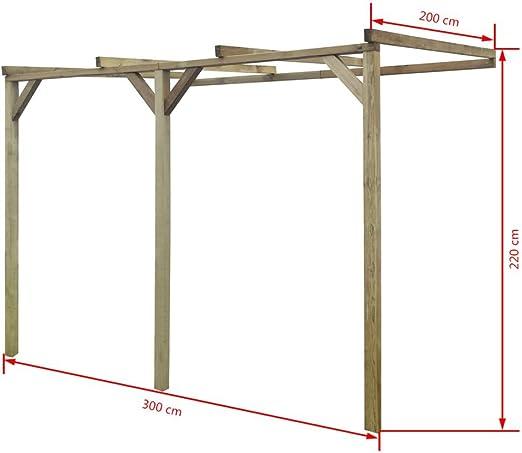 vidaXL Pérgola de Pared para Jardín de Madera de Pino 2x3x2,2 m Cenador Pared