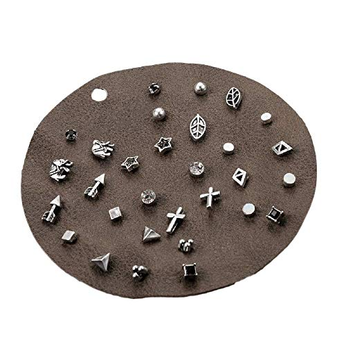 (Zen Styles Unique Design Vintage Small Stud Earrings Set, Set of 14, Silver Tone, Punk Elephant Cross Geometric Animal Stars Arrows Diamond Triangle Circle Ear Studs, Hypoallergenic)