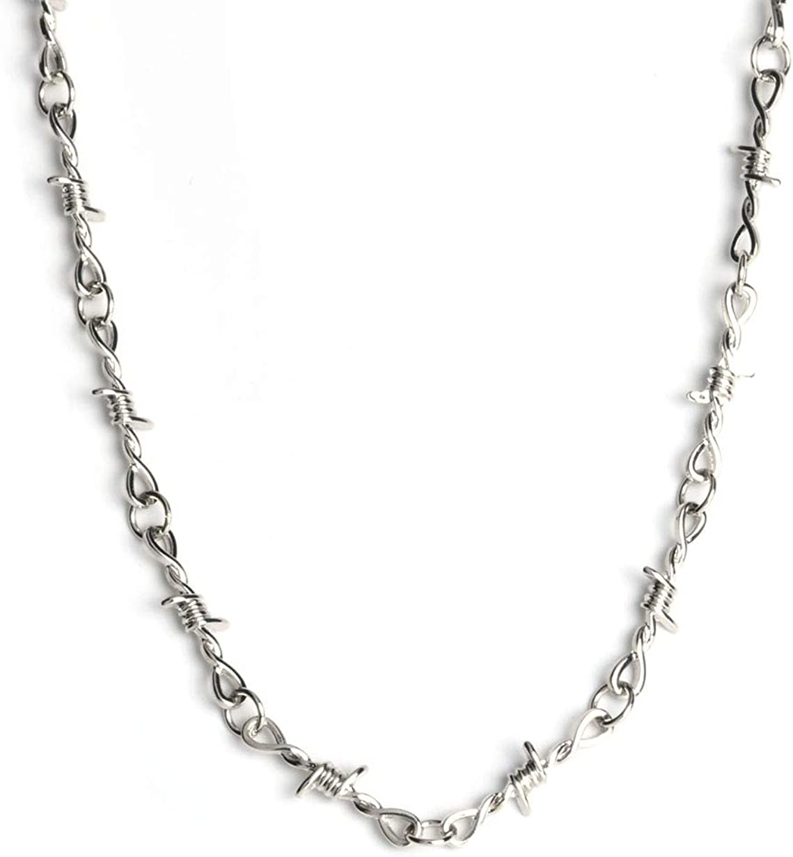 BYONDEVER Barbed Wire Necklace Gothic Thorns Choker Bracelet Punk Hip Hop Rock Stainless Steel Jewelry Set Gift for Women Girls Men