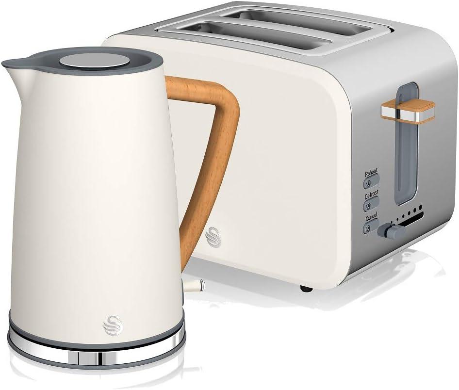 Swan Nordic Set Desayuno Hervidor de agua inalámbrico 1,7L 2200W, Tostadora Pan ranura ancha 2 rebanadas, 3 funciones, diseño moderno, efecto madera, blanco: Amazon.es: Hogar