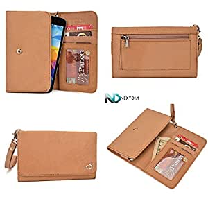 Womens Genuine Leather Wristlet Wallet Acer beTouch E100 |Universal fit with Credit Card Slots and Removable Handstrap| Acorn Brown
