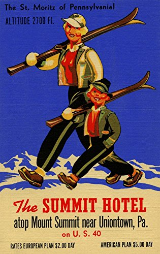 Pa Vintage Linen - The Summit Hotel of Pennsylvania has an altitude of 2700 feet and is great for skiing as illustrated on this vintage linen postcard image Located near Uniontown PA Poster Print by Curt Teich & Compan