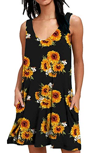 (MISFAY Women's Summer Casual T Shirt Dresses Beach Cover up Plain Tank Dress with Pockets (S, Sunflower))