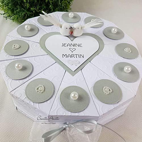 Schachteltorte Perlenhochzeit Weiss Silber Geldgeschenk Hochzeit