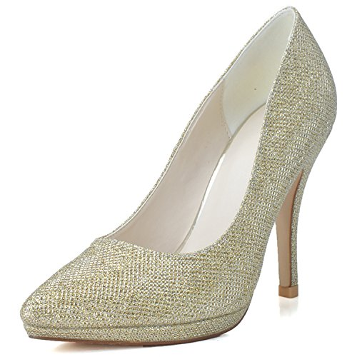 Clearbridal Women's Sequines Wedding Bridal Shoes Pointed Toe Stiletto Heel for Evening Prom Party Dress ZXF0255-24 Gold 2mk9F8nU5t