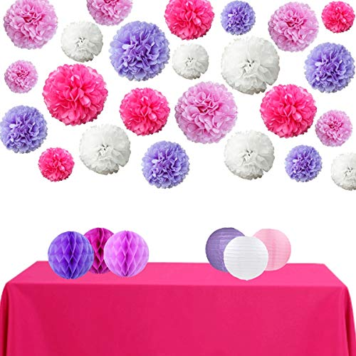 (InBy 30pcs Tissue Paper Pom Pom Honeycomb Ball Lantern Party Decoration Kit for Baby Shower Bridal Wedding Bachelorette Birthday Supplies - Purple, Rose Red,)