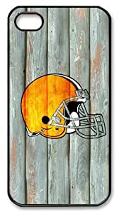 LZHCASE Personalized Protective Case for iPhone 4/4S - NFL Cleveland Browns in Wood Background