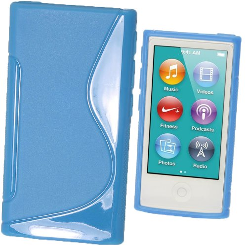 iGadgitz Dual Tone Blue Durable Crystal Gel Skin (TPU) Case Cover for Apple iPod Nano 7th Generation 7G 16GB + Screen (3g Gel Skin)