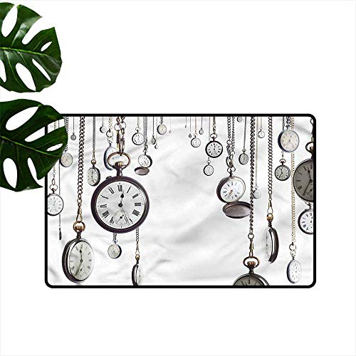 Entrance Door mat Antique Old Vintage Pocket Watches Anti-Fading W20 xL31