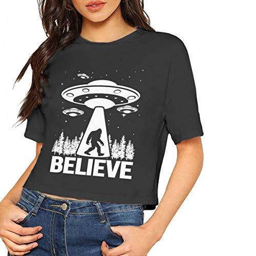 VANMASS Women's Crop Top Bigfoot UFO Abduction Short Sleeve T Shirt Black -