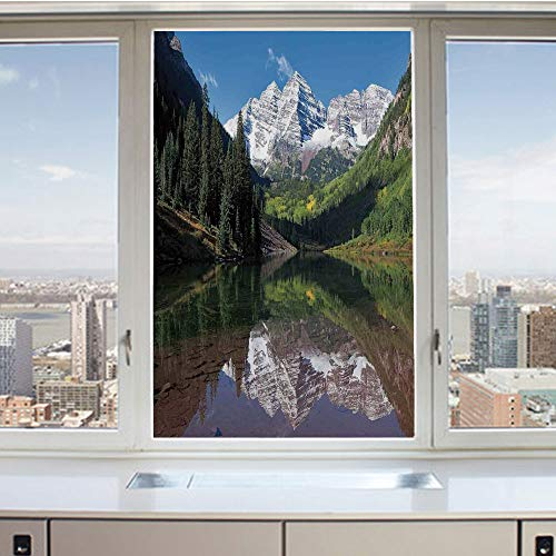 Bell Arrow Snow - 3D Decorative Privacy Window Films,Snow Covered Maroon Bells in Autumn Trees Mountain Reflection on Lake Scenery,No-Glue Self Static Cling Glass film for Home Bedroom Bathroom Kitchen Office 24x36 Inc