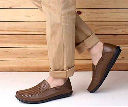Tda Heren Comfort Ademende Geperforeerde Lederen Loafers Drijfjurk Zakelijke Bootschoenen Kaki