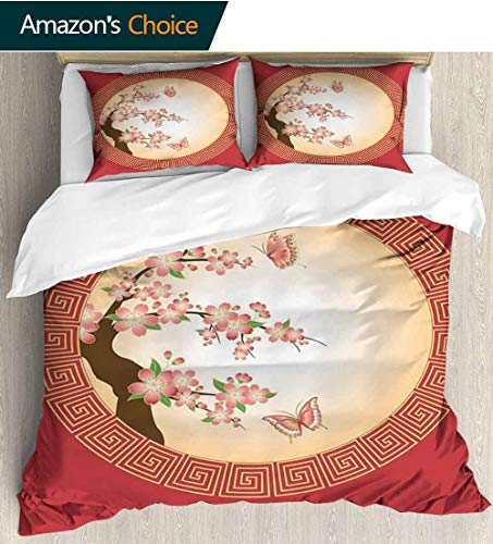 House Decor 3 Piece Quilt Coverlet Bedspread,Oriental Cherry Blossom with Butterflies in Circle Frame Ornamental Illustration All Season Lightweight Colorblock Kids Bedding Set 87