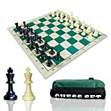 KTYY Travel Chess Set-Chess Pieces and Green Roll-up Vinyl Chess Board, Travel Canvas Chess Bag - Best Choice Tournamet Travel Set