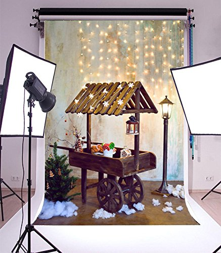 Laeacco Vinyl 5x7ft Photography Background Winter Kids Sale Cart Decorated Christmas Tree Snowflakes Wood Cart Infant Lamp Night Happy Birthday Party Decoration New Year Coming Scene Photo Studio Prop