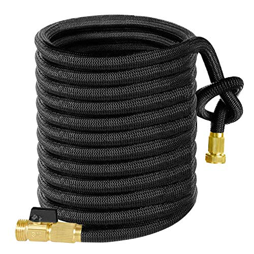Yardsky Expandable Garden Hose 100 ft Lightweight Flexible Water Hose with 3/4 Inch Solid Brass Connector and Storage Sack for Gardening
