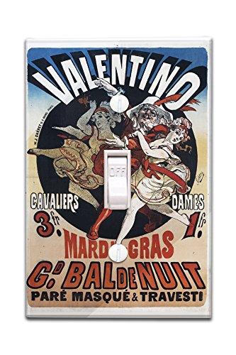 Valentino - Mardi Gras Vintage Poster (artist: Cheret) France c. 1869 (Light Switchplate Cover)