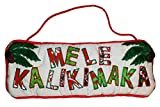 Mele Kalikimaka Hawaiian Christmas Quilted Wall or Door Hanger 11'' x 4''