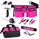 My First Tool Set - PINK by DIY Jr. – Real Tool Set for Kids Pink Tools for Girls Toolbelt Child-sized Tools Complete Tool Set for Girls Tools for Small Hands