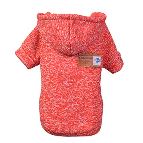 - Clothes for Pet Dog Puppy Classic Hooded Sweater Clothes Winter Costume Apparel Dress Knitwear Dog Vest Cold Weather Coat Small Dog Pet Jacket for Dog Cat Puppy Dog Outfits Sweatshirt (Red, S)