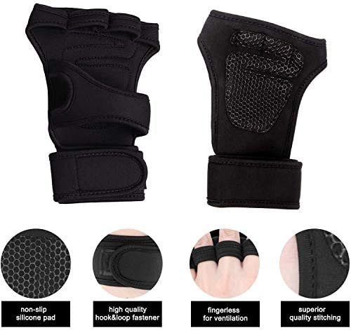 KYW Weight Lifting Gloves for Men and Women with Wrist Straps Well Ventilated and Palm Padding Protection Comfortable Fit for Pullups Cross Training Weightlifting Gym Workout – 3 Sizes